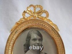 ANTIQUE FRENCH GILT BRONZE BRASS PHOTO FRAME, LOUIS XVI STYLE EARLY 20th CENTURY