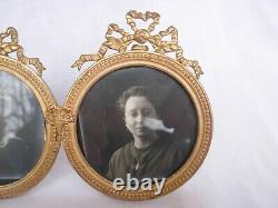 ANTIQUE FRENCH GILT BRONZE GLASS DOUBLE PHOTO FRAME, LOUIS XVI STYLE, LATE 19th