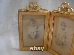 ANTIQUE FRENCH GILT BRONZE TRIPLE PHOTO FRAMES, LOUIS XVI STYLE LATE 19th CENTURY