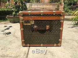 ANTIQUE FRENCH GOYARD Malle 110 STEAMER TRUNK LV louis vuitton Cabin purse bag