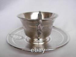 ANTIQUE FRENCH STERLING SILVER COFFEE CUP AND SAUCER, LOUIS 16 STYLE, LATE 19th