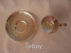 ANTIQUE FRENCH STERLING SILVER COFFEE CUP & SAUCER, LOUIS 15 STYLE, 19th CENTURY