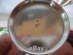 ANTIQUE FRENCH STERLING SILVER COFFEE CUP & SAUCER, LOUIS 16 STYLE, 19th CENTURY