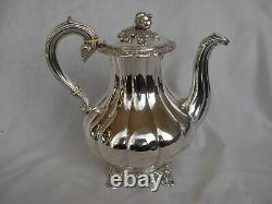 ANTIQUE FRENCH STERLING SILVER COFFEE POT, LOUIS 15 STYLE, 19th CENTURY