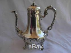 ANTIQUE FRENCH STERLING SILVER COFFEE, TEA POT, LOUIS XV STYLE, LATE 19th CENTURY