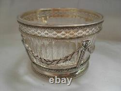 ANTIQUE FRENCH STERLING SILVER CUT CRYSTAL SUGAR BOWL, LOUIS 16 STYLE19th CENTURY