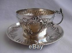 ANTIQUE FRENCH STERLING SILVER TEA CUP & SAUCER, LOUIS 15 STYLE, LATE 19th CENTURY