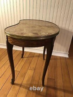 An Antique French Louis XV Kidney Table With Parquetry And Ormolu Bronze C. 1920