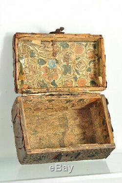 Ancien coffret de messager Louis XIV Cuir Antique 17th French Box case