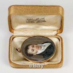 Antique 18k Locket Frame, Georgian Era French Portrait Miniature, Louis-Philippe