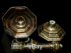Antique 18th Century French Louis XV Octagonal Faceted Brass Candlestick Pair