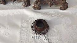 Antique 1900 french bronze pair candlestick candelabra gilt Louis barock rokoko