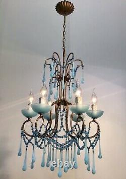 Antique 1930 Chandelier Louis XV French Blue opaline Murano RARE 6 Lights Rare