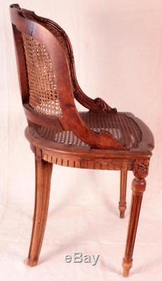 Antique 19th C. French Louis XV XVI Small Cane Desk Vanity Side Chair Stamped NL