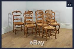Antique 8 Eight French Louis Style Oak Ladder Back Rush Kitchen Dining Chairs