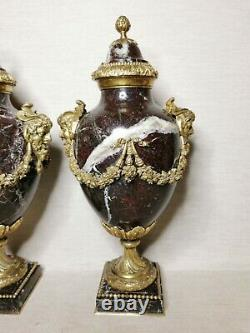 Antique A pair of French Louis XVI Style Bronze and marble Urns, 19th century