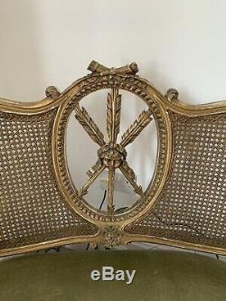 Antique Beautiful French Louis Boudoir Love Seat Sofa Cherub Design