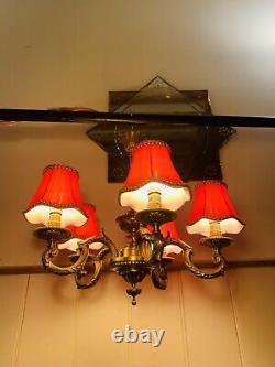 Antique Bronze French Empire Chandelier, Louis XVI Baroque 5 Branch Light