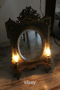Antique Bronze French louis XVI table mirror with 2 lamps