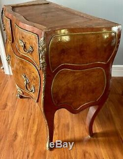 Antique Burl Wood Baroque Louis COMMODE Chest DRESSER Drawers Marquetry Vanity