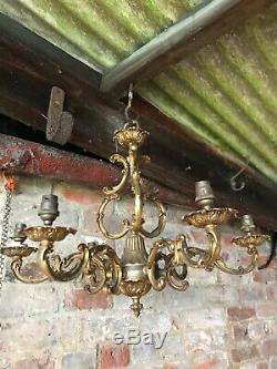 Antique Candelabra Pendant Ceiling Light Hanging Brass Gold Ornate French Louis