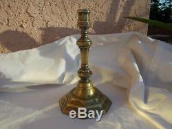 Antique Circa 1715 French Louis XV Brass Octagonal Candlestick