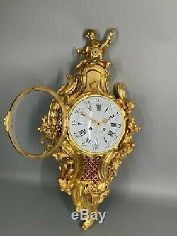 Antique French 1855 Louis XV Bronze Cartel Clock Free Worldwide Shipping