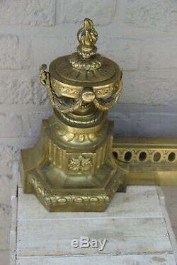 Antique French 19thc bronze fireplace andirons set portrait head louis XVI