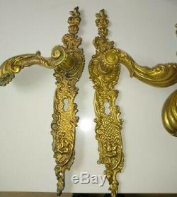 Antique French 4 Large Gilt Brass Door Handles 19th Century Louis XVI Style