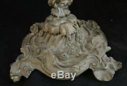 Antique French Bronze Candelabra, Louis XV Rococo Design. 20 ¼ tall