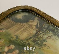 Antique French Bronze Ormolu Louis XVI Chateau Portrait Nobles Scenic Casket Box