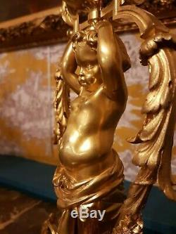 Antique French, Candelabra Louis XVI, gilded bronze Putto Atlante, after Prieur, 19t