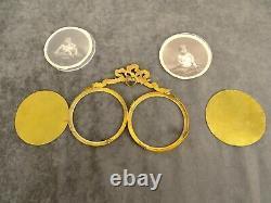 Antique French Double Gilt Bronze Photo Picture Frame Louis XVI Style Ribbon