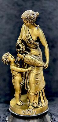 Antique French GILT BRONZE Artist Signed Louis Sauvageau b1822 Mother And Boy