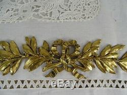 Antique French Gilded Bronze Furniture Pediment Decoration Ribbon Louis XVI
