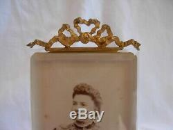 Antique French Gilt Brass Beveled Glass Photo Frame, Louis XVI Style