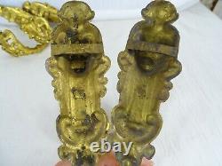 Antique French Gilt Bronze 2 pairs Curtain Tiebacks Holder Hooks Louis XV 19th