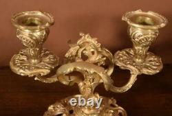 Antique French Gilt Bronze Louis XV Style Candlesticks Candelabra
