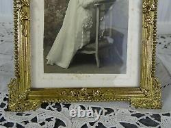 Antique French Gilt Bronze Picture Frame Louis XVI Ribbon Putty