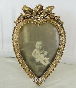 Antique French Gilt Bronze Picture Frame Louis XVI Style Heart-Shaped