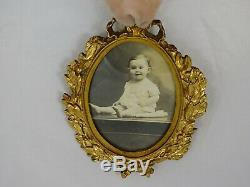 Antique French Gilt Dore Bronze Oval Picture Frame Louis XVI Style with Ribbon