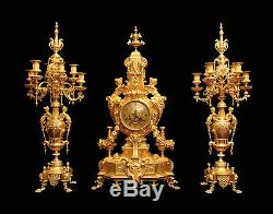 Antique French Gold Plated Bronze Louis XVI Clock And Candelabra 1850-1899