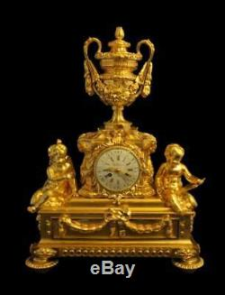Antique French Gold Plated Bronze Louis XVI Mantel Clock By Charles Dutertre