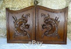 Antique French Hand Carved Oak Rococo Wood Panel Louis XVStyle Roses Wall Plaque