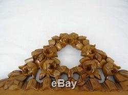 Antique French Hand Carved Walnut Wood Pediment-Crest Ribbon Louis XVI & Roses