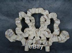 Antique French Hand Carved Wood Pediment Crest Ribbon Louis XVI