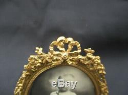 Antique French Heavy Bronze Oval Photo Frame Louis XVI Superb Double Pattern XIX