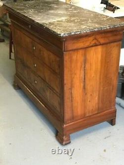Antique French Louis Philippe Burled Walnut Commode Circa 1840