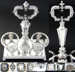 Antique French Louis Philippe Era Sterling Silver 13 Oil & Vinegar Cruet Stand