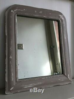 Antique French Louis Philippe Mirror Distressed Grey Painted Original Glass 39cm